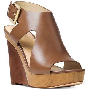 Michael Kors wooden wedge sandals